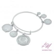 Bracelete semijoia fina pendule de moedas francesas