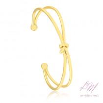 Bracelete semijoia fina duplo fio entrelace com nó central