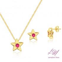 Conjunto semijoia fina Estrela com pedra de zircônia em cores