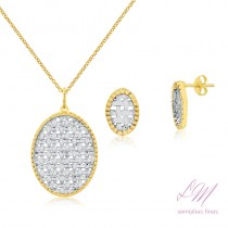 Conjunto semijoia fina oval trabalhada em ouro branco