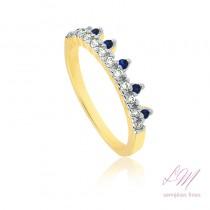Anel semijoia fina designer em coroa de princesa com micro zircônia e pedra em sapphire e ruby