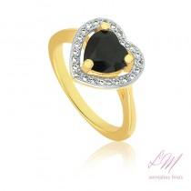 Anel semijoia fina de Coração quartzo negro cravejado com micro zircônia e acabamento em ouro branco